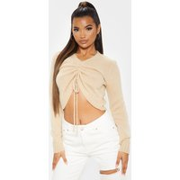 Stone Ruched Crop Knitted Jumper