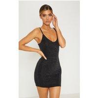 Black Sheer Strappy Textured Glitter Bodycon Dress