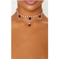 Iridescent Blue Gemstones And Crystal Diamante Choker