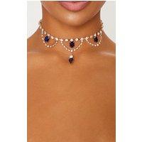 Iridescent Blue Gemstones And Crystal Diamante Choker, Blue