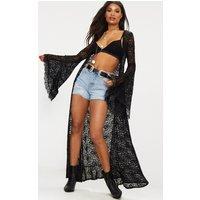 Black Lace Flare Sleeve Maxi Kimono, Black