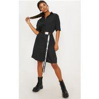 Black Oversized Midi Shirt Dress