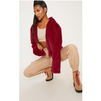 Burgundy Cropped Faux Fur Zip Through Hoodie