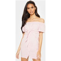 Baby Pink Tie Front Bardot Woven Bodycon Dress