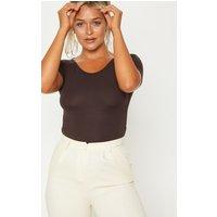Basic Chocolate Short Sleeve Bodysuit, Chocolate Brown