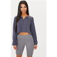 Charcoal Blue Zip Front Sweater