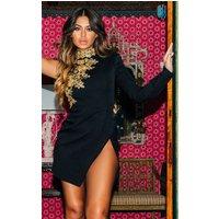 Black Asymmetric Sleeve Embroidered Bodycon Dress