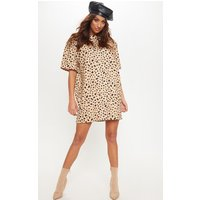 Camel Dalmatian Print High Neck Scuba T Shirt Dress