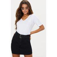 Black Buckle Detail Denim Mini Skirt