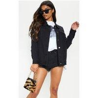 Aymeline Black Distressed Oversized Denim Jacket