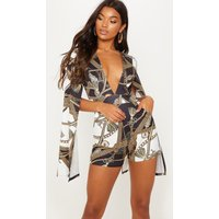 Black Rope Chain Print Plunge Flare Sleeve Playsuit