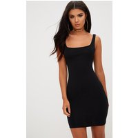 Basic Black Square Neck Bodycon Dress