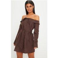 Chocolate Bardot Button Through Shirt Dress