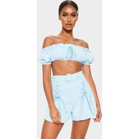 Baby Blue Woven Lace Up Detail Short