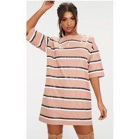Camel Striped Oversized Boyfriend T Shirt Dress