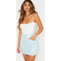 Baby Blue Faux Leather Pocket Detail Mini Skirt