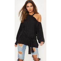 Black Cut Out Belted Long Sleeve Top