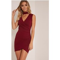 Amaris Burgundy Choker Detail Ruched Wrap Front Bodycon Dress