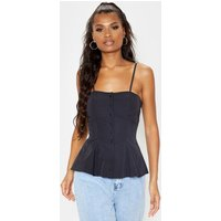 Black Woven Button Up Strappy Peplum Cami