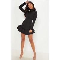 Black High Neck Double Frill Hem Scuba Mini Dress
