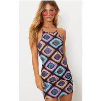 Black Crochet Print Strappy Back Bodycon Dress