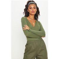 Basic Khaki V Neck Long Sleeve Bodysuit, Green