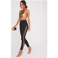Anetta Black Lace Up Side Skinny Trousers