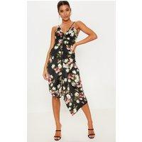 Black Floral Print Drawstring Front Strappy Midi Dress