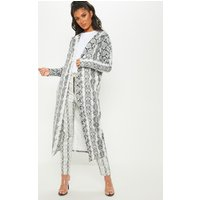 Grey Longline Snake Duster Jacket