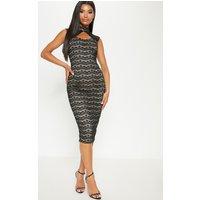 Black Lace High Neck Cut Out Detail Midi Dress