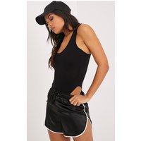 Basic Black Racer Back Bodysuit, Black