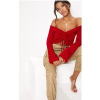 Red Ruched Knit Extreme Sleeve Crop Jumper