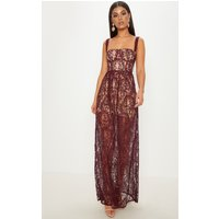 Burgundy Lace Cup Detail Floaty Maxi Dress