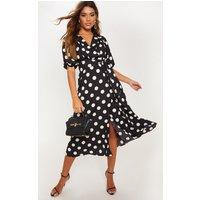 Black Polka Dot Short Sleeve Skater Midi Dress