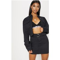 Black O-ring Belt Detail Denim Mini Skirt