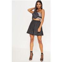 Black Shell Toggle Side Detail Mini Skirt
