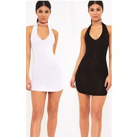 2 White & Black Basic Halterneck Bodycon Dress