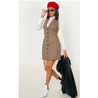 Beige Check Print Sleeveless Blazer Style Bodycon Dress