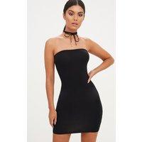 Black Jersey Bandeau Bodycon Dress
