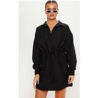 Black Toggle Waist Shirt Dress