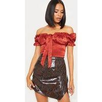Black Snakeskin Wrap Mini Skirt