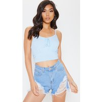 Baby Blue Jersey Tie Front Crop Top