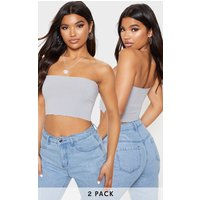 2 Pack Grey Rib Frill Hem Bandeau Crop Top