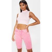 Acid Pale Pink 3/4 Skinny Denim Shorts