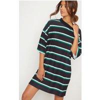 Black Stripe Oversized Boyfriend T Shirt Dress