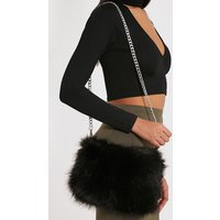 Christah Black Faux Fur Chain Shoulder Bag