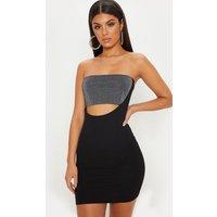 Black Bandeau Lurex Insert Bodycon Dress