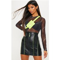 Black Faux Leather Contrast Piping Mini Skirt