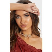 Gold Disc Star Embossed Choker Necklace, Yellow