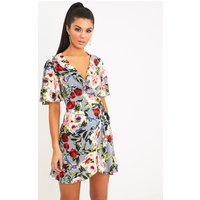Ammie Grey Floral Wrap Front Tea Dress